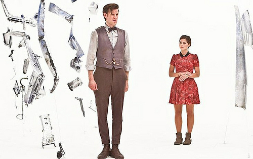 "The Doctor (Matt Smith) and Clara (Jenna Louise-Coleman) gauge the damage in ""Journey to the Centre of the TARDIS."""