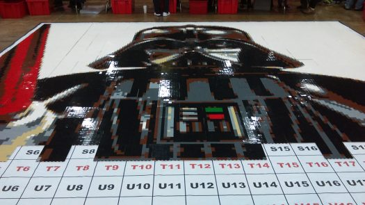 Help build a giant portrait of LEGO Darth Vader? Sure!