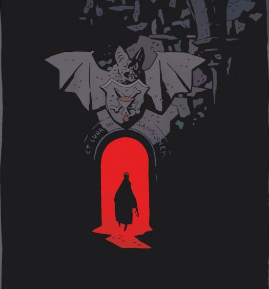 Cover of Mr Higgins Comes Home: a black silhouette stands in a red doorway with a gray gargoyle over it