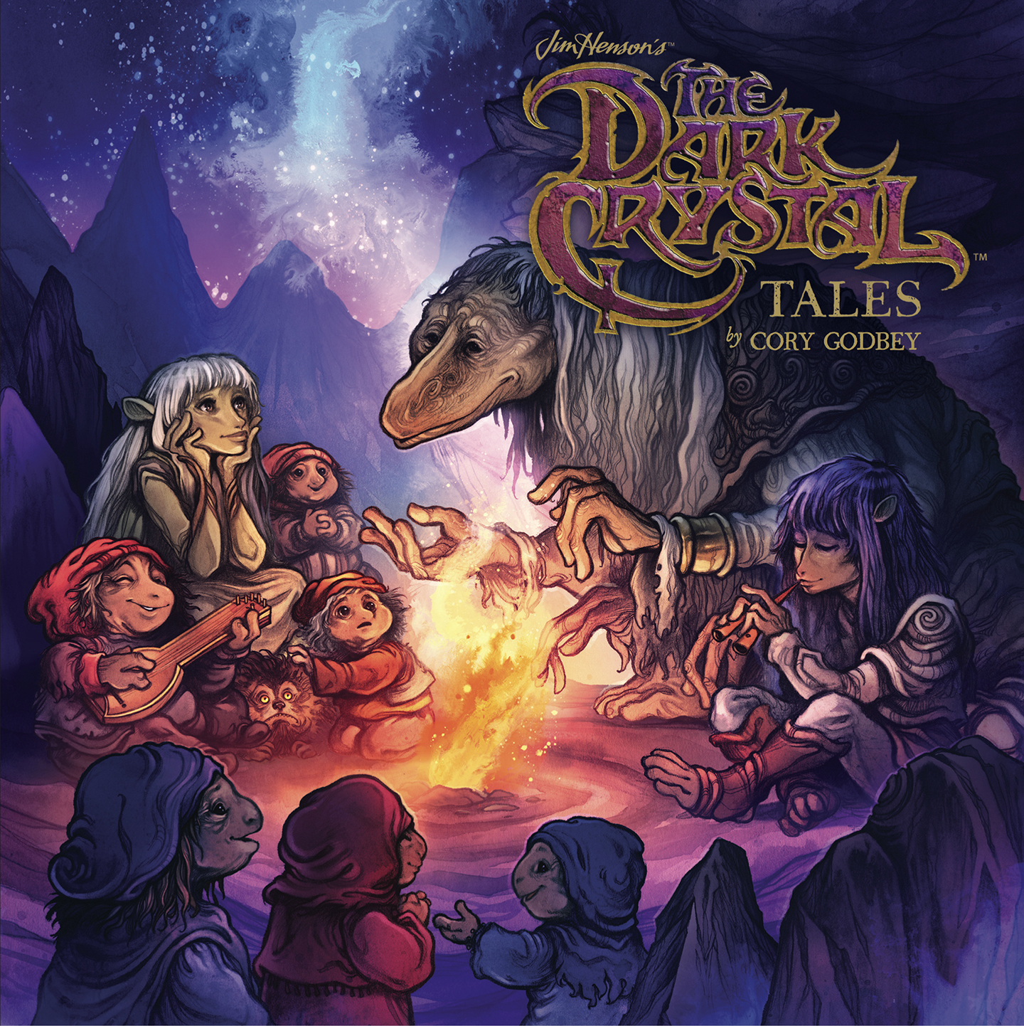Cover of The Dark Crystal Tales: various characters from the movie gather around a campfire listening to a story
