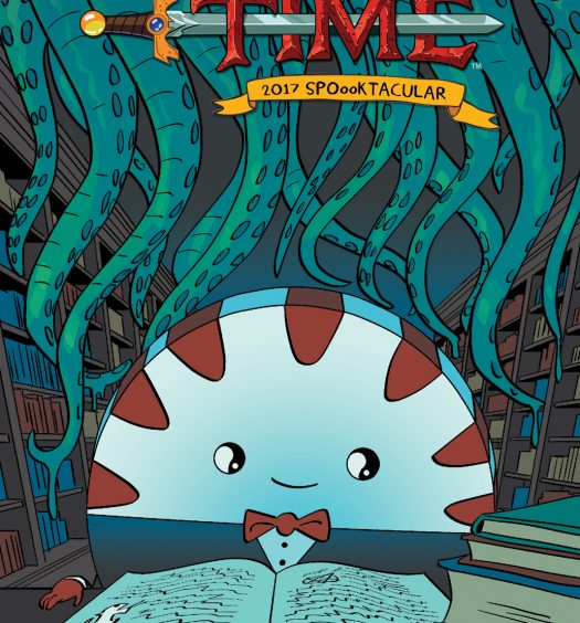 Cover of Adventure Time Spooktacular 2017, Peppermint Butler sits reading a huge spell book surrounded by eldritch creatures