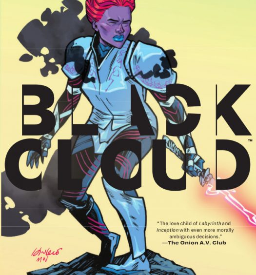 Cover of Black Cloud Volume 1. Zelda stands on a cliff edge in armor holding her lightning sword at the ready